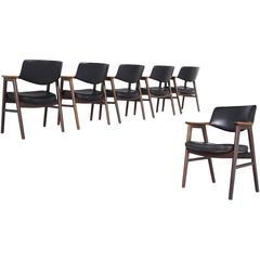 Erik Kirkegaard Set of Six Black Leather Armchairs in Rosewood and Beech