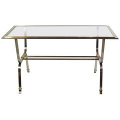 Italian Stainless Steel and Brass Desk Table