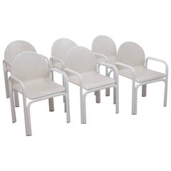 Set of Six White Gae Aulenti 54A Arm Chairs in Leather for Knoll, 1975