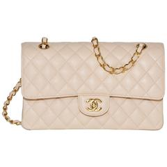 Chanel Beige Double Flap Quilted Caviar Bag Handbag Gold Hardware