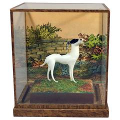 Vintage Lauscha Glass Shadow Box with Glass Dog