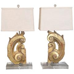 Two Gilded Italian Fragment Lamps