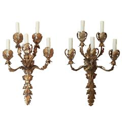 Pair Italian Tole and Gilt Sconces
