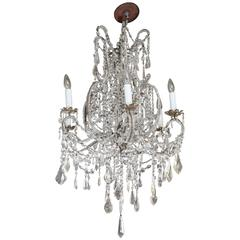 Italian Iron and Crystal Chandelier