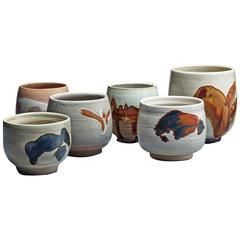 Rolf Palm Set of Six Ceramic Vases, Sweden, 1990s