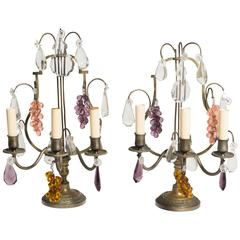 Pair of French Style Three-Light Girandole Lamps