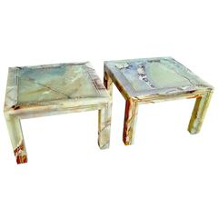 Rare Pair of Italian Marble End Tables, 1970s
