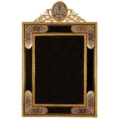 Attractive Wall Mirror with Gilt Brass Mounts and Champlevé Enamel Fields