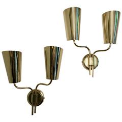 Itsu, a Pair of Large Brass Sconces, 1950s