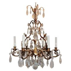 Wonderful French Gilt Baguès Rock Crystal Jansen Chandelier Vintage Fixture