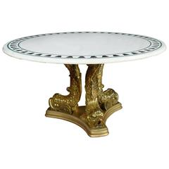 Giltwood Dolphin Base Center Table