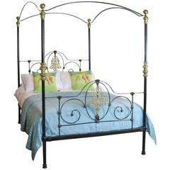 Cast Iron Four Poster Bed with Sunflower Design, M4P18