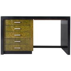 Late Art Deco Desk in Black and Green Wood with Glass Top