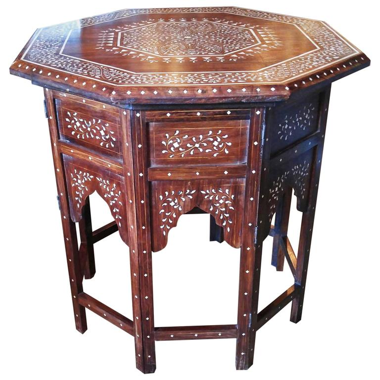 Octagonal Table with Bone Inlays, from India, Classic Inlay Pattern