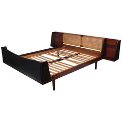 Hans J. Wegner Teak with Cane Queen Bed with Night Tables for GETAMA, 1960s