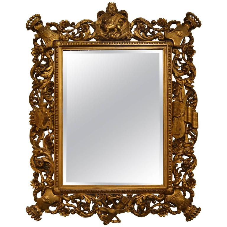 Antique French Carved Wood Gold Mirror, circa 1830-1850