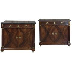 Pair of 19th Century French Empire Marble-Top Mahogany Buffets