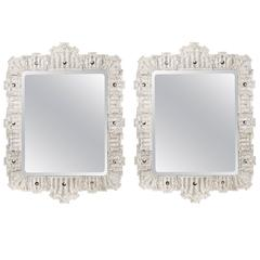 Orrefors, Exceptionally Large and Rare Pair of Swedish Glass Framed Mirrors