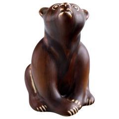 Rare Rörstrand Stoneware Figure by Gunnar Nylund, Bear, Mid-20th Century