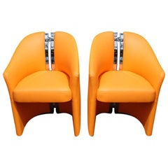"Pair of ""H"" Spine Back Side Chairs in Orange Leather"