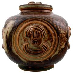 Royal Copenhagen Jais Nielsen Lidded Vase in Stoneware, Sung Glaze