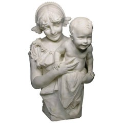 """Italian 19th Century Life Marble Sculpture """"Mother and Child"""" by A. Mazzucchelli"""
