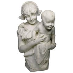 "Italian 19th Century Life Marble Sculpture ""Mother and Child"" by A. Mazzucchelli"