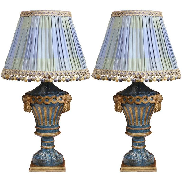 Pair Of 19th Century Italian Painted Wooden Lamp Bases