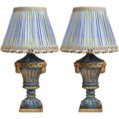 Pair of 19th Century Italian Painted Wooden Blue Lamps with Custom Silk Shades