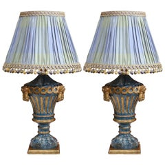 Pair of 19th Century Italian Carved Painted Lamp Bases with Custom Silk Shades