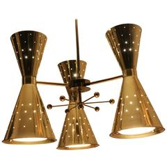 1950s Diabolo or Hourglass Brass Plated  Chandelier from Electrolier