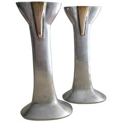 Pair of Cast Aluminium and Brass Candlesticks by David Marshall, Spain