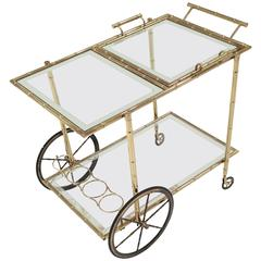 Vintage Brass Faux Bamboo Bar Serving Cart with Mirror Framed Glass