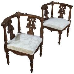 Pair 19th Century Italian Renaissance Walnut Corner Chairs