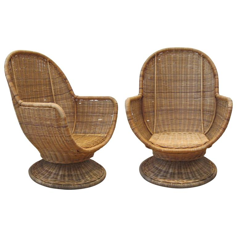 Beau Large Egg Shape Swivel And Tilt Rattan Chairs For Sale
