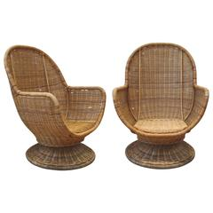 Large Egg Shape Swivel and Tilt Rattan Chairs