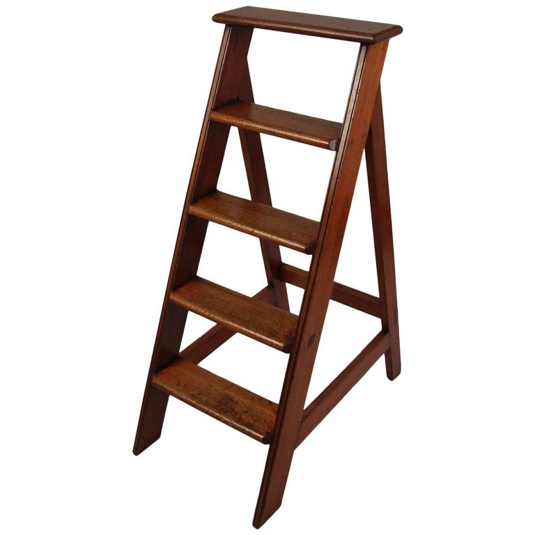 English Mahogany Library Ladder At 1stdibs