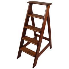 English Mahogany Library Ladder
