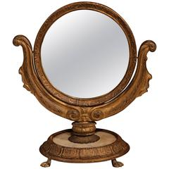 19th Century, French Empire Swivel and Tilt Makeup Mirror on Round Marble Base