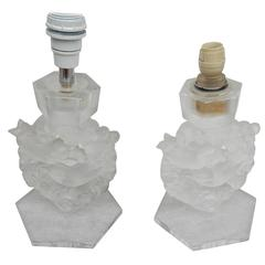 1950-1970 Pair of Lamps Signed Lalique