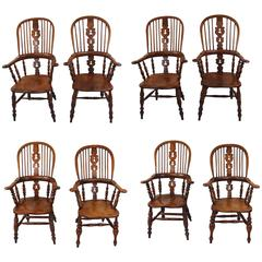 Harlequin Set of Eight Elm and Ash Broad Arm High Back Windsor Chairs