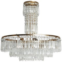 French Hand-Cut Crystal and Brass Chandelier
