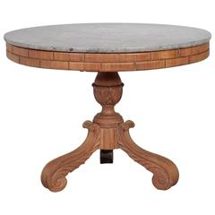 French Carved Center Table with Marble Top