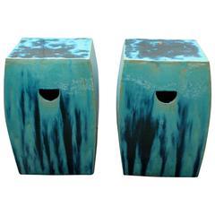 Dipped Glazed Squared Ceramic Garden Stools