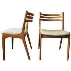 Rare Pair of Danish Elm Chairs Attributed to Johannes Andersen