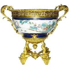 Large 19th Century Chinese Porcelain and French Figural Ormolu Centerpiece