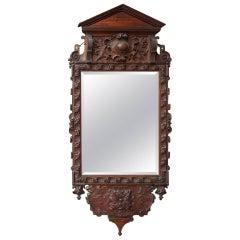 Victorian Carved Oak Mirror in the Georgian Taste