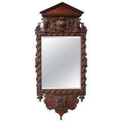 Victorian Carve Oak Mirror in the Georgian Taste