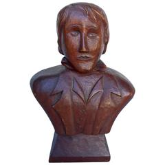 Carved Folk Art Bust of a Young Man