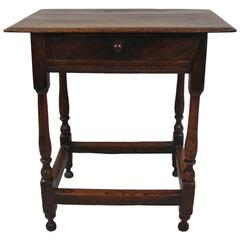 Charles II Oak Side Table with Drawer